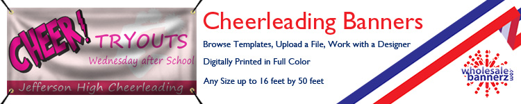 Custom Cheerleading Banners from Wholesalebannerz.com