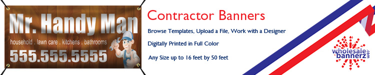 Custom Contractor Banners from Wholesalebannerz.com
