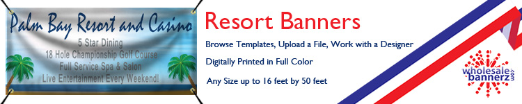 Custom Resort Banners from Wholesalebannerz.com