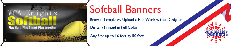 Custom Softball Banners from Wholesalebannerz.com