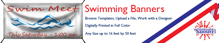 Custom Swimming Banners from Wholesalebannerz.com