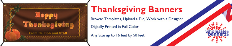 Custom Thanksgiving Banners from Wholesalebannerz.com