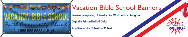 Custom Vacation Bible School Banners from Wholesalebannerz.com